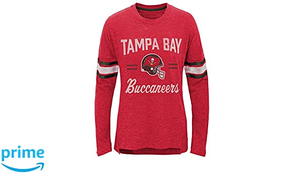 16 Outerstuff NFL NFL Tampa Bay Buccaneers Youth Girls Field Armor Long Sleeve Dolman Tee Heather Grey Youth X-Large