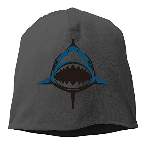 DMN Fashion Solid Color Shark Beanie Cap For Unisex Black One Size