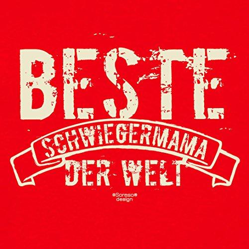 Damen-Girlie-Fun-T-shirt Top Geschenk GRATIS Urkunde - Beste Schwiegermama der Welt Farbe: rot Gr: XL