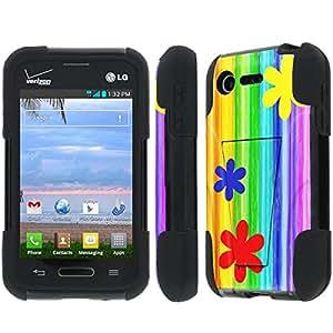 NakedShield LG Optimus Zone 2 VS415P / Optimus Fuel L34C Flower Rainbow T Armor Tough Shock Proof KickStand Phone Case