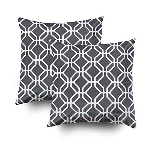 Musesh Holiday Throw Pillow Case, Vector Pattern Modern Stylish Texture Repeating Geometric Tiles with Octagons and Rhombuse for Sofa Home Decorative Pillowcase 16X16 Pack2 Pillow Covers