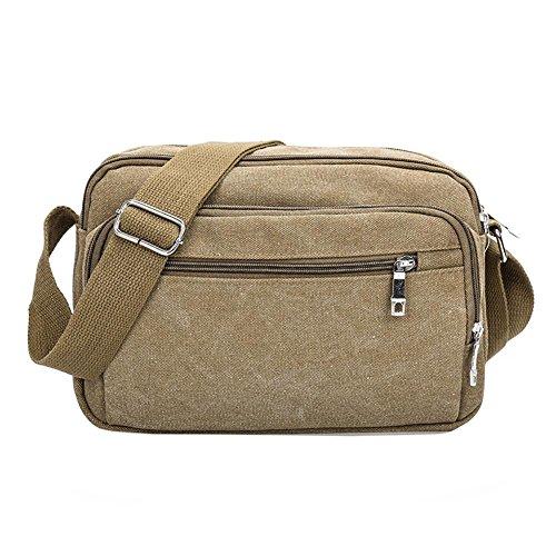 Domybest cremallera hombres canvas Messenger Satchel Bag color sólido casual deportes hombro bolsas bolso verde verde marrón claro