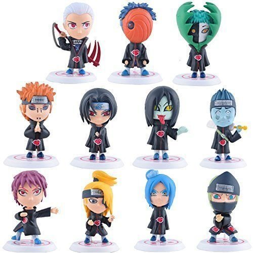 TONGROU Akatsuki Mini Figures Uchiha Itachi Madara Sasuke Hidan Orochimaru (All Black Costumes Tumblr)