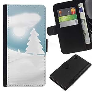 // PHONE CASE GIFT // Moda Estuche Funda de Cuero Billetera Tarjeta de crédito dinero bolsa Cubierta de proteccion Caso Sony Xperia Z2 D6502 / Winter Snowy Christmas Forrest /