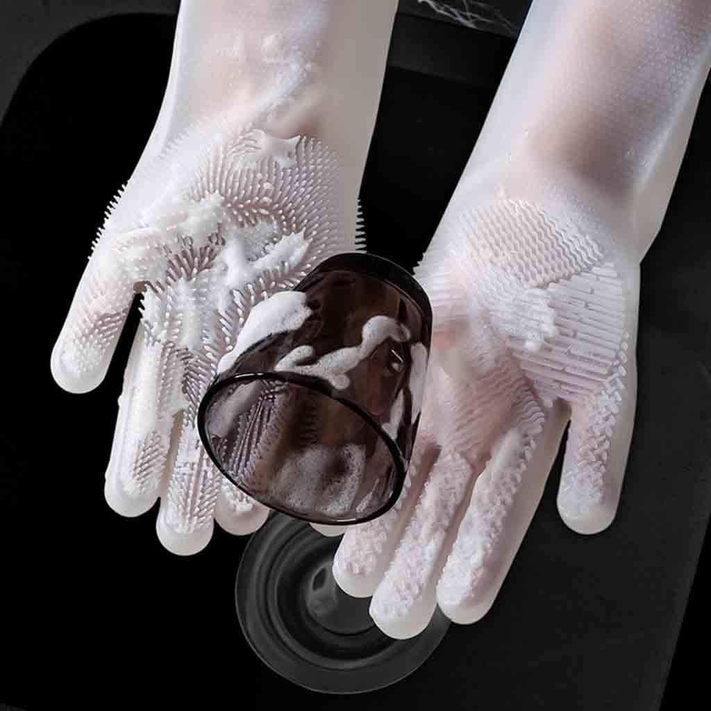 Muium Gants r/éutilisables en Silicone Le Lavage de la Vaisselle et Le Lavage de la Voiture,Le M/énage,Soin des Animaux Domestiques Blanc Brosse De Nettoyage /À Gants R/ésistant /À La Chaleur Gants