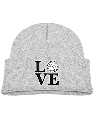 Kids Knitted Beanies Hat Love Volleyball Winter Hat Knitted Skull Cap for Boys Girls Pink