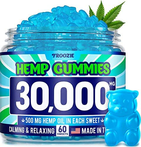 Hemp Gummies 30000 MG - 500 MG Hemp per Gummy, 60 Sweets - Made in USA - Natural Anxiety & Stress Relief - Premium Hemp & Coconut Synergy - Mood & Immunity Support - Ideal Omega 3, 6, 9 Source