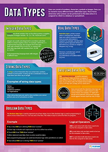 Data Types | Classroom Posters for Computer Science | Gloss Paper measuring 33 x 23.5, School Posters for the Classroom, Educational Wall Charts, by Daydream Education