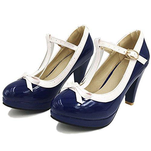 Blue con Alto Mujer Tacon RAZAMAZA Hebilla Zapatos Cerrado Court g48BSW