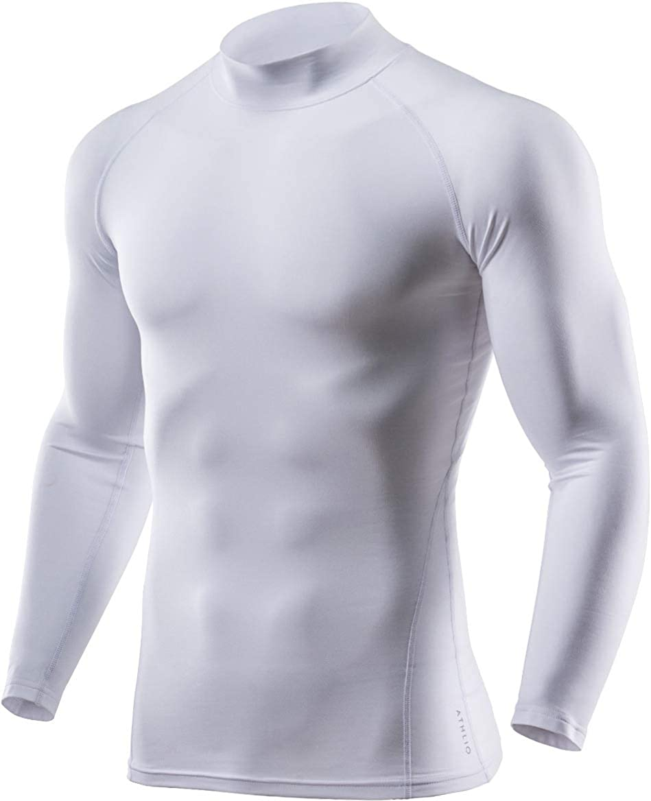 ATHLIO Mens Thermal Wintergear Compression Baselayer Mock Long Sleeve Shirt