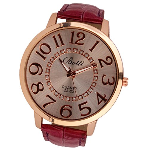 Womens Fashion Numerals Golden Dial Leather Analog Quartz Watch Red - 3