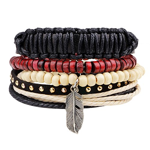 Jlbuay Men's 4pcs Bracelets Set, alloy Angel Beaded leather Bracelet, cuff adjustable size ()