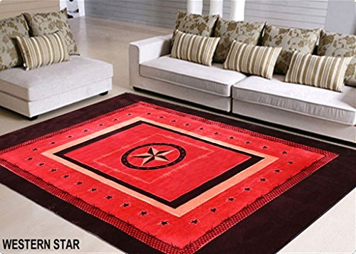 Rustic Western Rug in a Bag with Lone Star State Texas Stars Deep Red / Burgundy 6ft x 9ft