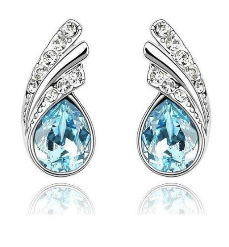 General Gifts Pendentif en forme de goutte avec zircone cubique Bleu océan Crytal mode Boucles d'oreilles Boucles d'oreilles