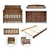 Simmons Kids King 5-Piece Nursery Furniture Set; Crib, 7 Drawer Dresser, Changing Top, Toddler Guardrail & Full Size Conversion kit, Weathered Chestnut