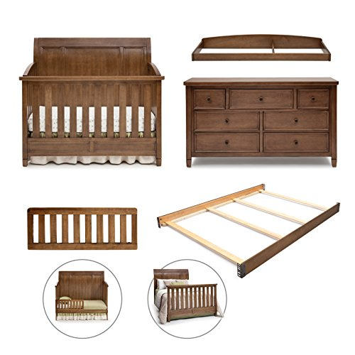 Simmons Kids King 5-Piece Nursery Furniture Set; Crib, 7 Drawer Dresser, Changing Top, Toddler Guardrail & Full Size Conversion kit, Weathered Chestnut by Simmons