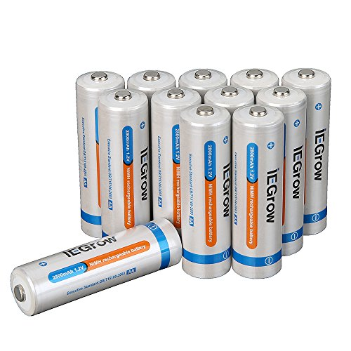 iEGrow AA Ni-MH Rechargeable Batteries 2800mAh (12-pack)