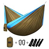 G4Free Double Camping Hammock - Portable High Strength Hammock - Lightweight Blend Color Nylon Fabric Parachute for Outdoor. Hammock Straps & Steel Carabiners include (Sky blue/Camel)
