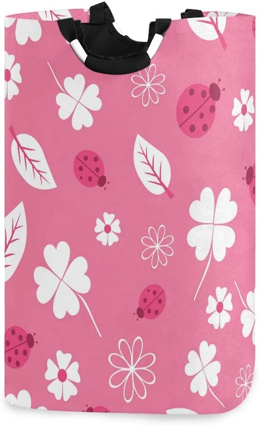 RunningBear Laundry Basket Washing Clothes Hamper - Pink Flower Leaves Ladybug Collapsible Laundry Hamper Large Capacity Laundry Tote for Bathroom, Clothing Organization