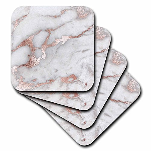 3dRose cst_275197_4 Image of Chic Gray Trendy Copper Marble Agate Gemstone Rock Quartz Ceramic Tile Coasters, Set of 8, Gold/Brown/Grey ()