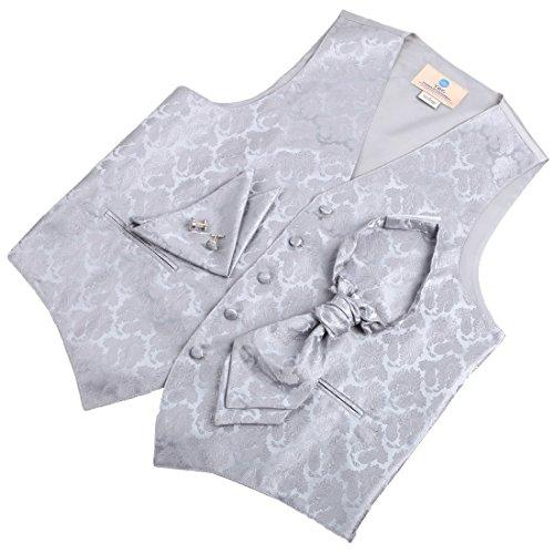 Mens Designer Silver Paisleys Tuxedo Vest Set Match Tuxedo Vests ,cufflinks, hanky and Ascot Tie for Suit Y&G VS2006-L Large Silver