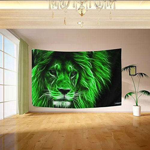 Vipsk Tapestry Green Lion Wall Hanging Artistic Polyester Fabric Cottage Dorm Wall Art Home Decoration 80 x 60 inches gray Wall decoration