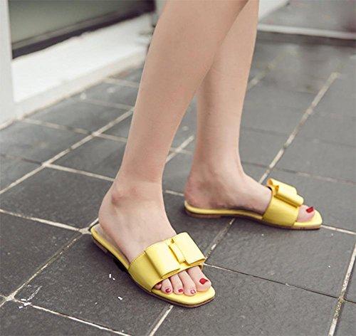 Zapatillas Flat Amarillo Verano Flores Con Soporte De Zapatos rfIqBUrw