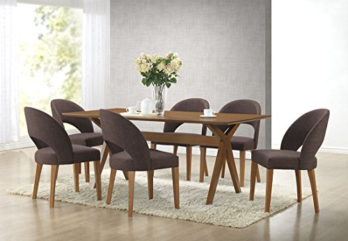 Baxton Studio Lucas Mid-Century Style 7 Piece Dining Set, Walnut Brown