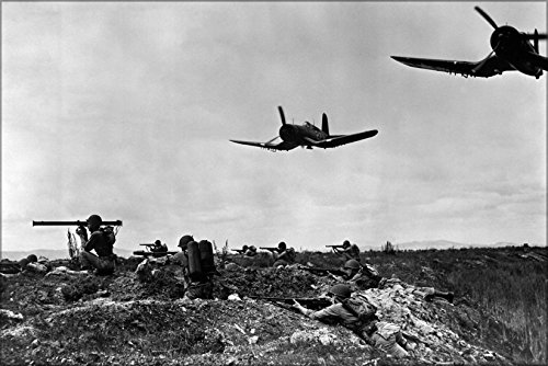 - 24x36 Poster . Platoons Of Marines With F4U-1D Corsair Planes