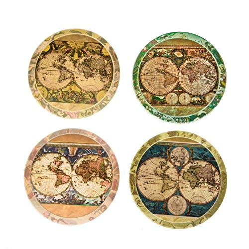CoasterStone AS285 Absorbent Stone Coasters, Old World Maps