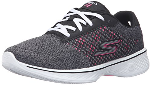 Skechers Performance Women's Go Walk 4 Exceed Walking Shoe, Black/Hot Pink, 9 M US
