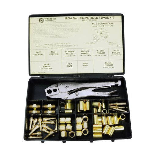Western Enterprises CK-6 Other Hose Repair Kits, Fittings, Crimping Tool, Full color label/description chart, 0.5 Length, B-Size 312-CK-6