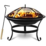 """Sorbus Fire Pit Bowl 22"""", Includes Mesh Cover, Log Grate, Curved Legs, and Poker Tool, Great BBQ Grill for Outdoor Patio, Backyard, Camping, Picnic, Bonfire, etc (Black Fire Pit Bowl 22"""")"""