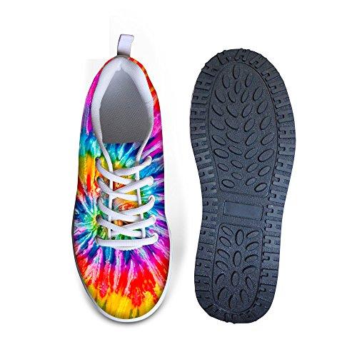Hugs Idea Tie Dey Design Zapatos De Mujer Para Caminar Cuñas Plataformas De Colores Colorful 2