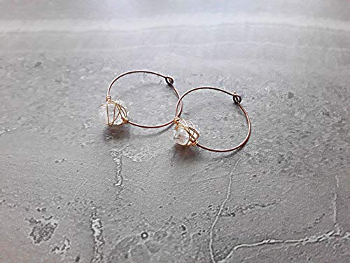 Herkimer Diamond Wire Wrapped Boho Hoop Earrings Copper and Gold