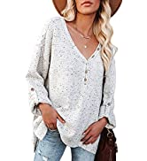 Asvivid Colorful Dots Button Down V Neck Sweaters for Women Roll Up Long Sleeve Knit Pullover Jum...