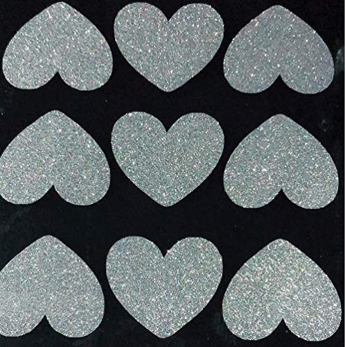 Amaonm 72 Pcs Removable Sparkling Sliver Heart Wall Decals Stickers DIY Peel and Stick Art Decor Vinyl Wall Decal for Home Walls Weeding Birthday Party Kids Room Nursery Bedroom Wall Decoration
