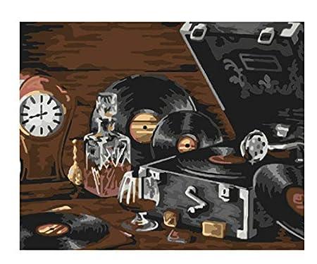Un viejo tocadiscos bodegones DIY Pintura digital por ...