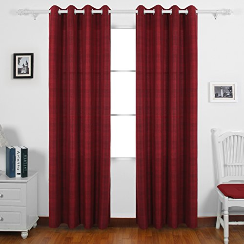 Deconovo Checked Plaid Curtains Grommet Curtains Faux Linen Window Curtains For Living Room 52X63 Inch 1 Pair Red