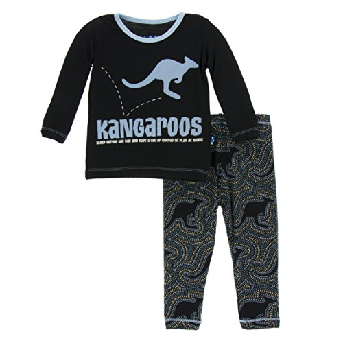 KicKee Pants Little Boys Print Long Sleeve Pajama Set, Midnight Kangaroo, 2T