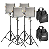 Neewer 4 Packs Dimmable Bi-color 480 LED Video Light and Stand Lighting Kit Includes: 3200-5600K CRI 96+ LED Panel with U Bracket, 75 inches Light Stand for YouTube Studio Photography, Video Shooting
