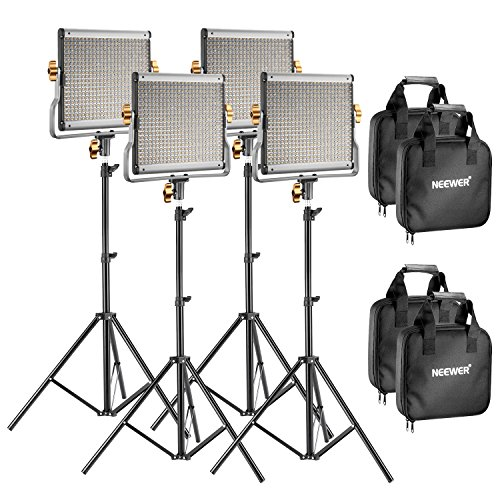 Neewer 4 Packs Dimmable Bi-color 480 LED Video Light and Stand Lighting Kit Includes: 3200-5600K CRI 96+ LED Panel with U Bracket, 75 inches Light Stand for YouTube Studio Photography, Video Shooting 480 Kit