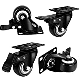 "2"" Inch Heavy Duty Swivel Caster Wheels with Brake 360 Degree Top Plate Bearing 110lbs Each (Packs of 4) - Black"