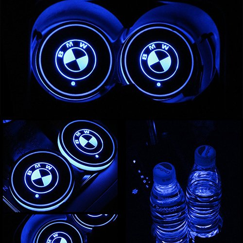 ZhengRong Car Logo LED Cup Pad led Cup Coaster USB Charging Mat Luminescent Cup Pad LED Mat Interior Atmosphere Lamp Decoration Light for BMW (2 Piece)