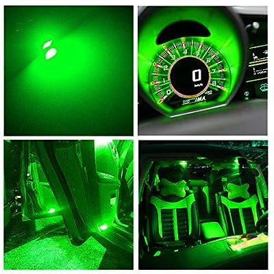 12pcs T5 74 Wedge 3-SMD LED Lights Instrument Panel Indicator Bulb Gauge Cluster Lamps (12 PACK, Green): Automotive