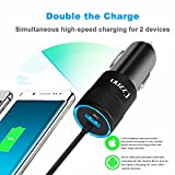 iPhone Car Charger, 4.8A Rapid USB Car Charger with Coiled Lightning Cable for iPhone X / 8 / 8 Plus / 7 / 6s / 6s Plus 5S 5 5C SE, iPad and More, with Extra USB Port