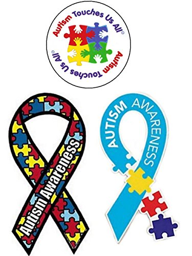 (3 Autism Awareness Car Magnets- Ribbon Puzzle Piece, Multi-Color Puzzle Piece,Autism Touches Us All)