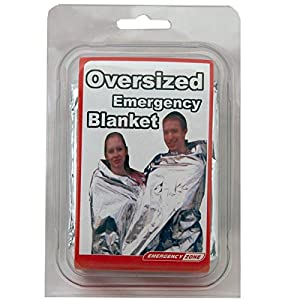 Emergency Zone 71x142 Inch Oversized Emergency Blanket, Reflective Thermal Blanket. Single Pack