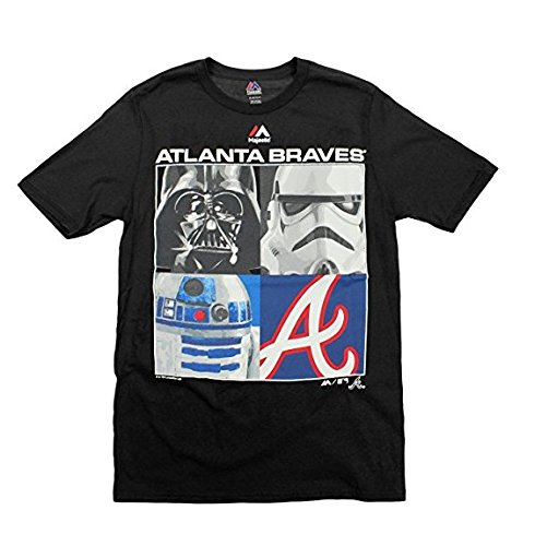 Majestic MLB Boys Youth Star Wars Main Character T-Shirt, Atlanta Braves, Small (8) (T-shirt Baseball Braves)
