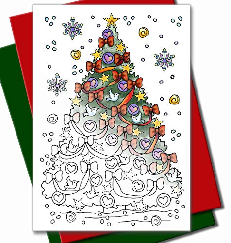 Art Eclect Adult Coloring Christmas Cards for Adults and Children to Color (10 Cards with 5 Red and 5 Green Envelopes Included, Set C2)
